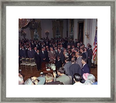President Johnson Signs Civil Rights Framed Print
