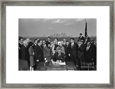 President Johnson Signs Hart-cellar Framed Print by Science Source