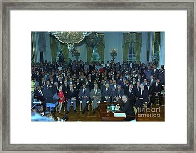 President Johnson Speaks To The Nation Framed Print