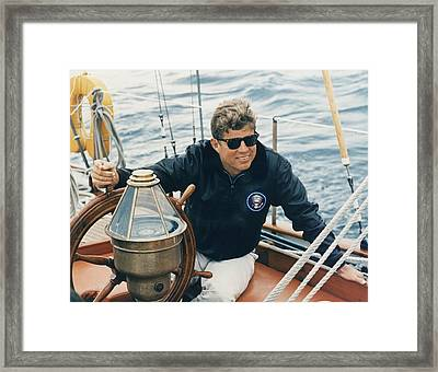 President Kennedy Sailing Aboard The Us Framed Print