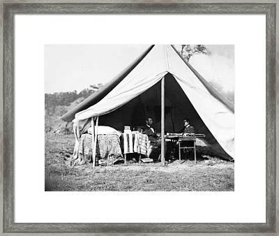 President Lincoln And Gen. George B Framed Print by Everett