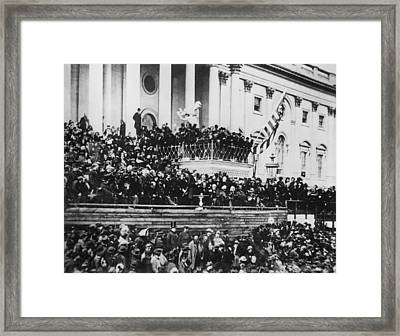 President Lincoln Gives His Second Inaugural Address - March 4 1865 Framed Print
