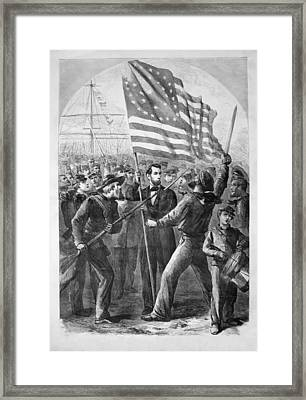 President Lincoln Holding The American Flag Framed Print