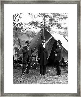 Framed Print featuring the photograph President Lincoln Meets With Generals After Victory At Antietam by International  Images