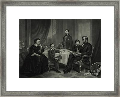 President Lincoln With His Family, 1861 Framed Print by Science Source