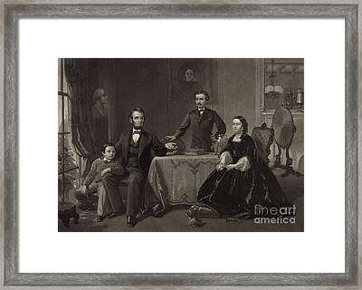 President Lincoln With His Family Framed Print by Science Source