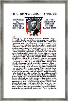 President Lincolns Gettysburg Address Framed Print by Science Source
