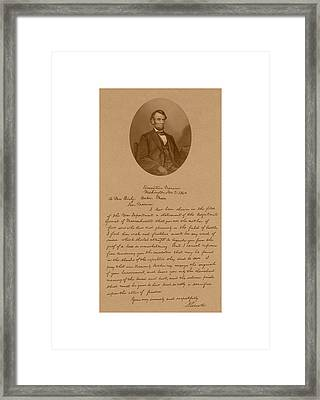 President Lincoln's Letter To Mrs. Bixby Framed Print by War Is Hell Store