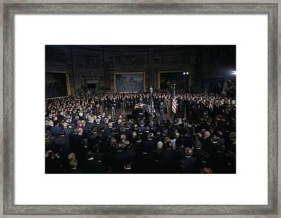 President Lyndon Johnson Lying In State Framed Print