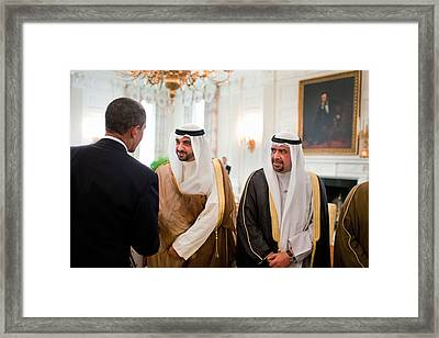 President Obama Greets Members Framed Print by Everett