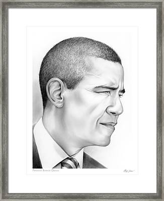 President Obama Framed Print by Greg Joens