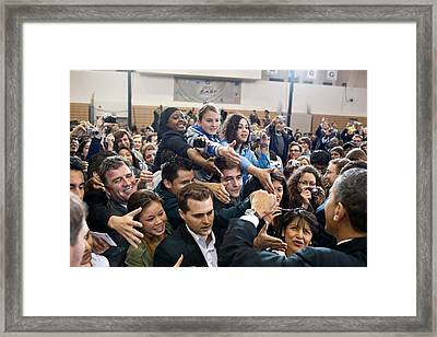 President Obama Shakes Hands Following Framed Print by Everett