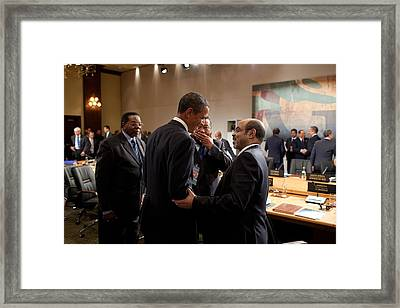 President Obama Talks With Ethiopian Framed Print by Everett