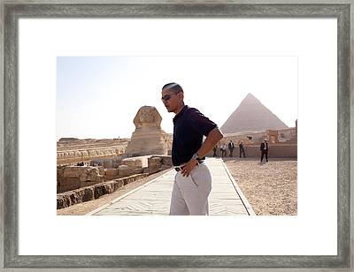 President Obama Tours The Egypts Great Framed Print by Everett