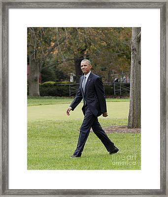 President Obama - White House South Lawn #2 Framed Print