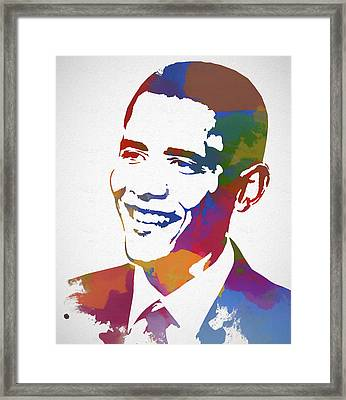 President Obama Watercolor Framed Print
