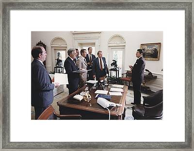 President Reagan And His White House Framed Print