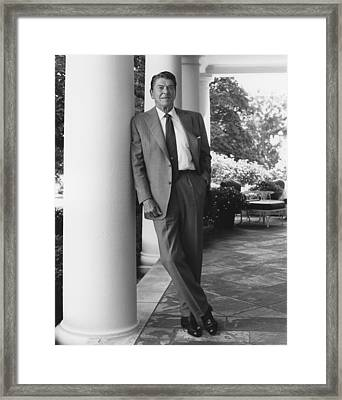 President Reagan Outside The White House Framed Print by War Is Hell Store