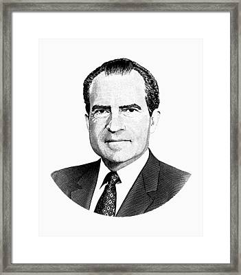 President Richard Nixon Graphic Black And White Framed Print by War Is Hell Store
