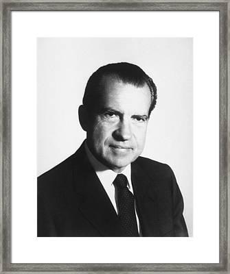 President Richard Nixon Portrait  Framed Print by War Is Hell Store