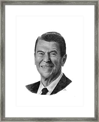 President Ronald Reagan Framed Print by Charles Vogan