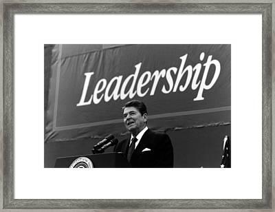 President Ronald Reagan Leadership Photo Framed Print