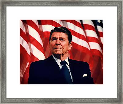 President Ronald Reagan Speaking - 1982 Framed Print by Mountain Dreams