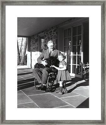 President Roosevelt In His Wheelchair Framed Print by Everett