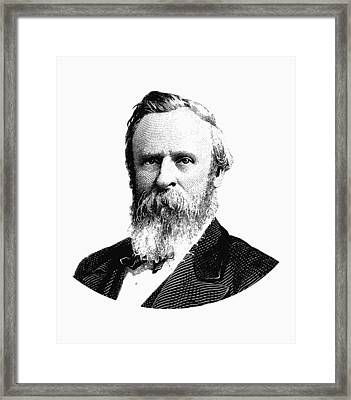 President Rutherford B. Hayes Graphic Black And White Framed Print