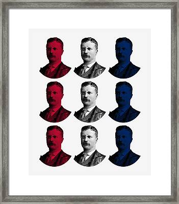 President Teddy Roosevelt - Red, White, And Blue Framed Print