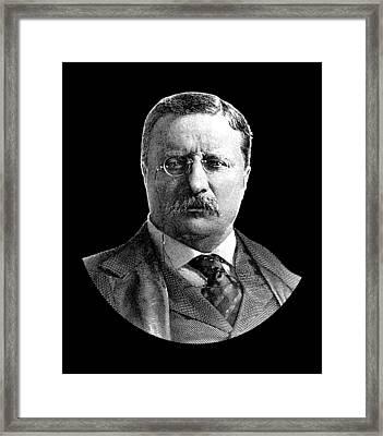 President Theodore Roosevelt Graphic - Black And White Framed Print