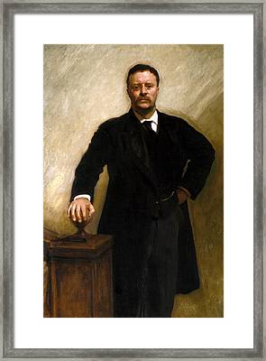 President Theodore Roosevelt Painting Framed Print by War Is Hell Store