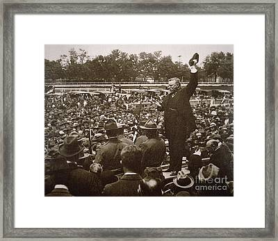 President Theodore Roosevelt Speaking At A Recruiting Rally In June 1917 Framed Print by American School