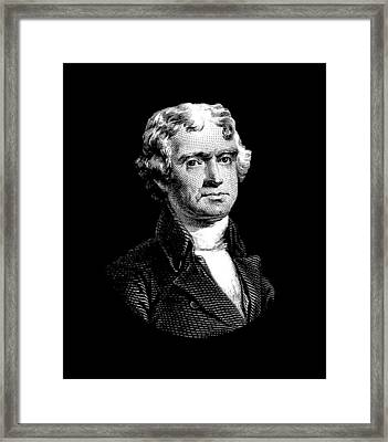 President Thomas Jefferson - Black And White Framed Print