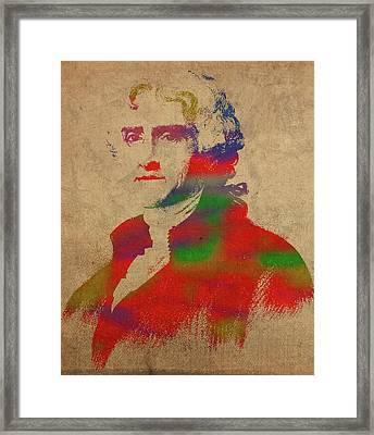 President Thomas Jefferson Watercolor Portrait Framed Print by Design Turnpike