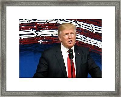 President Trump Giving A Speech At Snap On Tools Framed Print
