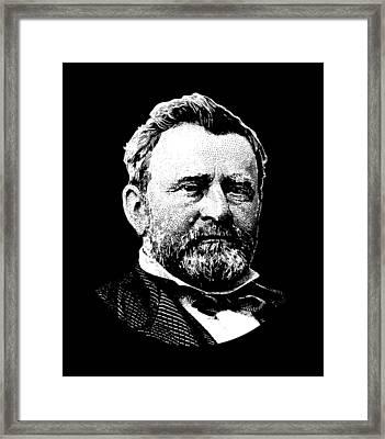 President Ulysses Grant Graphic - Black And White Framed Print
