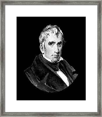 President William Henry Harrison Graphic - Black And White Framed Print