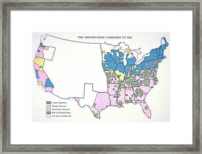 Presidential Election Campaign Map, 1860  Framed Print by American School