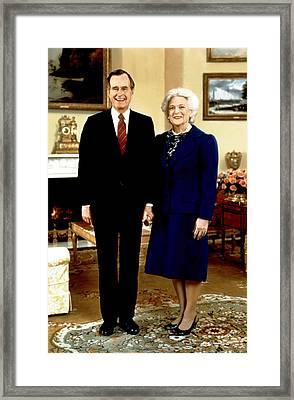 Presidential Portrait Of George Bush Framed Print