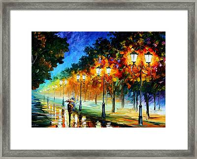 Prespective Of The Night Framed Print by Leonid Afremov