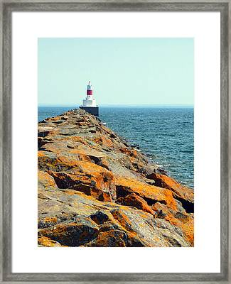 Presque Isle Lighthouse In Marquette Mi Framed Print