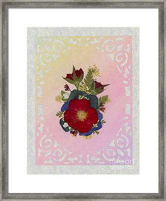 Pressed Flowers Arrangement With Red Roses Framed Print