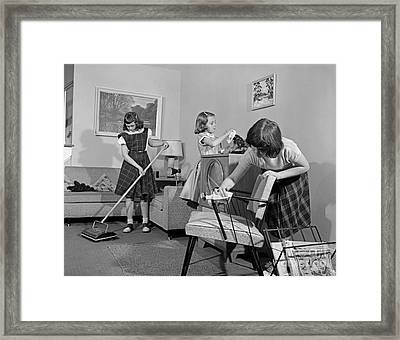 Preteen Girls Cleaning Living Room Framed Print by H. Armstrong Roberts/ClassicStock