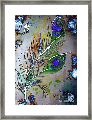 Framed Print featuring the painting Pretty As A Peacock by Denise Tomasura