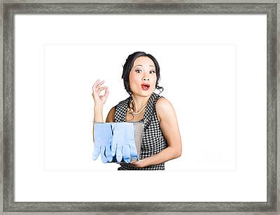 Pretty Asian Lady Giving Ok Gesture To Clean Framed Print by Jorgo Photography - Wall Art Gallery
