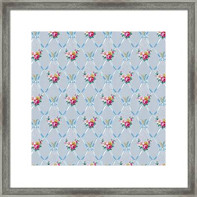 Framed Print featuring the digital art Pretty Blue Ribbons Rose Floral Vintage Wallpaper by Tracie Kaska