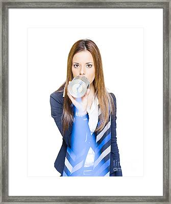 Pretty Business Woman Talking On Tin Can Phone Framed Print