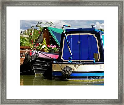 Pretty Canal Boats Framed Print by Terri Waters