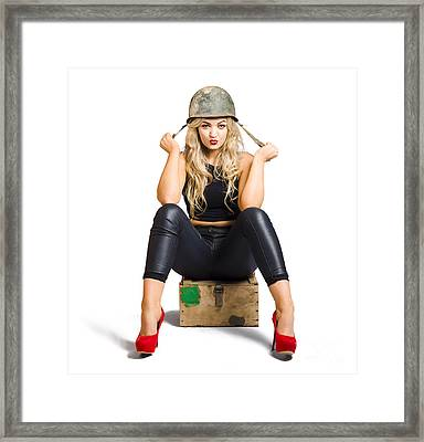 Pretty Female Pin Up Soldier On White Background Framed Print by Jorgo Photography - Wall Art Gallery